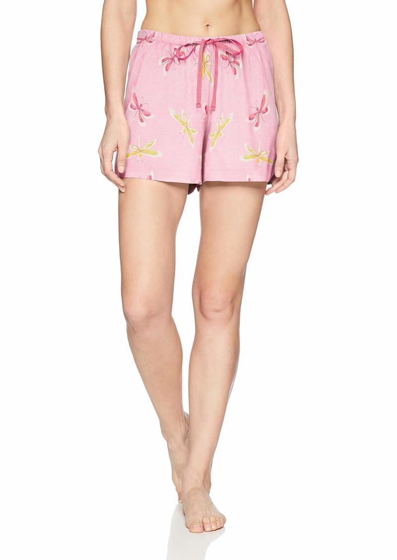 HUE Women's Printed Knit Boxer Pajama Sleep Short Lilac Sachet-Dragonfly Fusion Extra Large