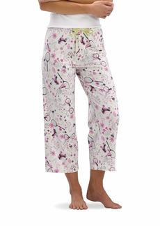 HUE Women's Printed Knit Capri Pajama Sleep Pant Off White-Backyard Modern