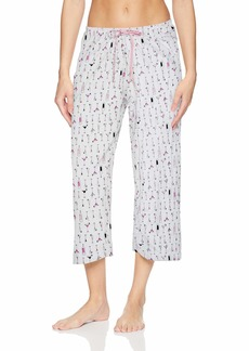 HUE Women's Printed Knit Capri Pajama Sleep Pant White Dwink Extra Large