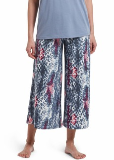 HUE Women's Printed Knit Coulotte Pajama Sleep Pant Off White-Sassy Skin