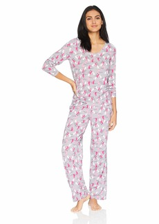 HUE Women's Printed Knit Long Sleeve Tee and Pant 2 Piece Pajama Set Silver Sconce/Copy cat