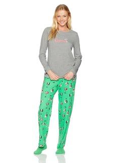 HUE Women's Printed Knit Tee and Pant 3 Piece Pajama Set  Extra Large