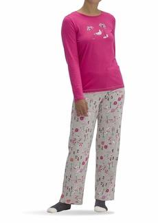 HUE Women's Printed Knit Tee and Pant 3 Piece Pajama Set Fuchsia Purple - Xmas at The Beach
