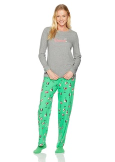 HUE Women's Printed Knit Tee and Pant 3 Piece Pajama Set  Grey Heather/Green/Checkers