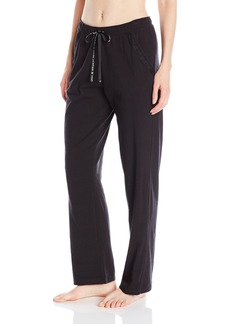 HUE Women's Relaxed Fit Lace Trim Solid Pant with Pockets