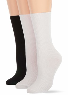 HUE Women's Relaxed Top Crew Socks 3 Pair Pack  one size