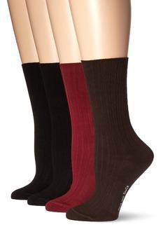 HUE Women's Rib Dress Socks 4 Pk