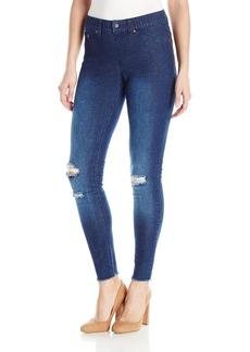 HUE Women's Ripped Knee Denim Leggings  XL