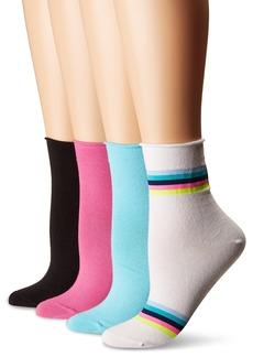 HUE Women's Roll Top Shortie Sock 4 Pair Pack