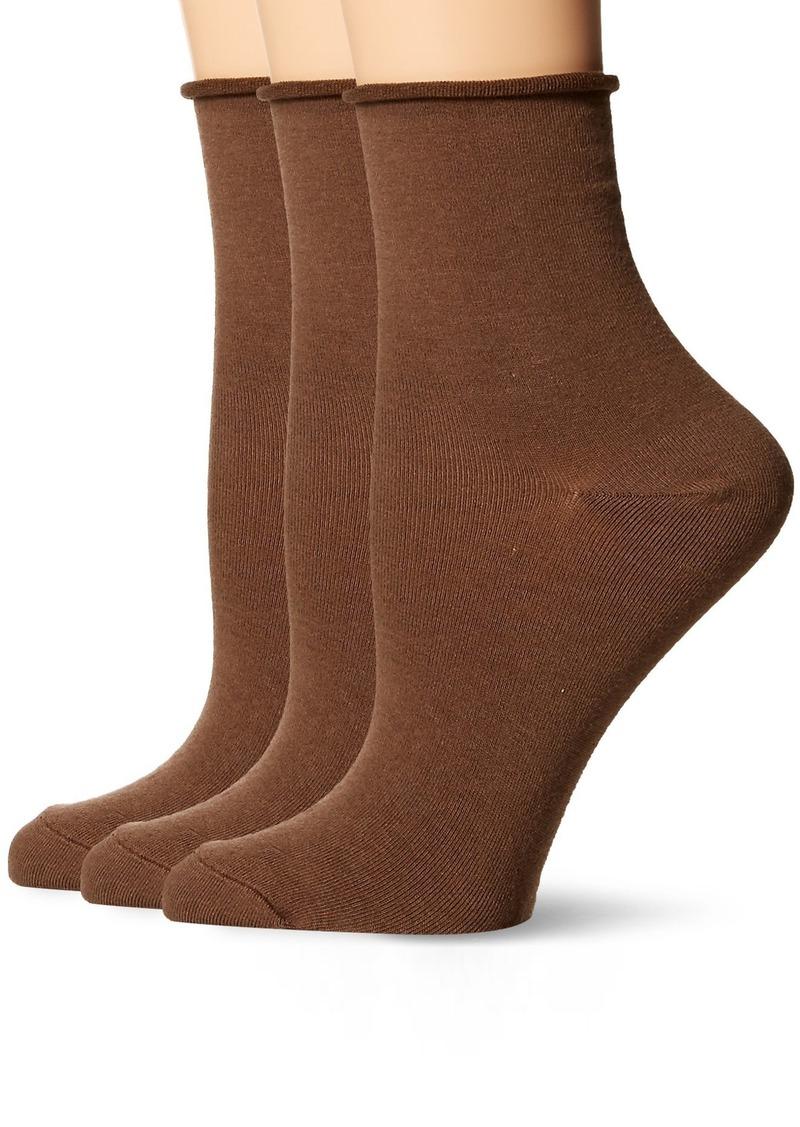 HUE Women's Roll Top Shortie Sock (Pack of 3) truffle