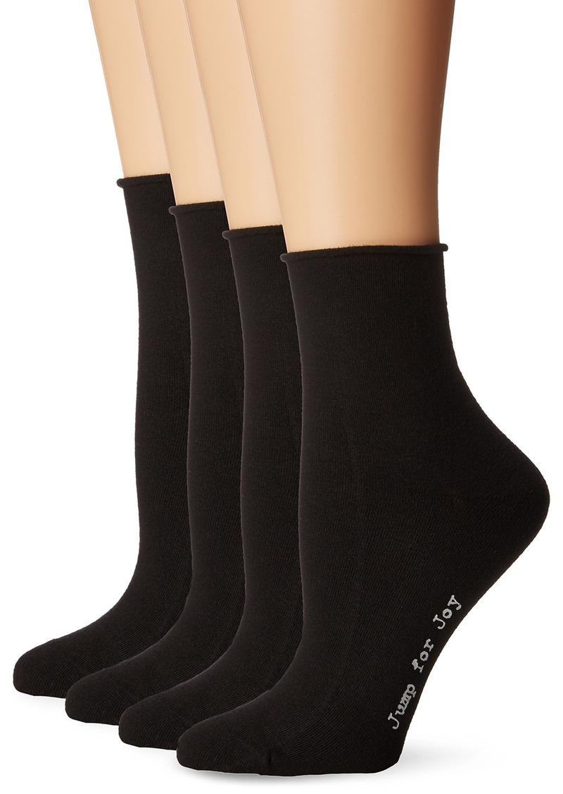HUE Women's Roll Top Shortie Socks 4 Pk