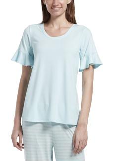HUE Women's Short Sleeve Ruffle Flounce Pajama Sleep Tee  Extra Large