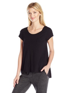 HUE Women's Short Sleeve Scoop Neck  Shirt with Lace Trim