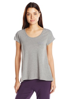 HUE Women's Short Sleeve Scoop Neck Grey Shirt with Lace Trim  Grey Heather