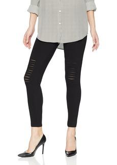 HUE Women's Slashed Knee with Fishnet Cotton Leggings  S