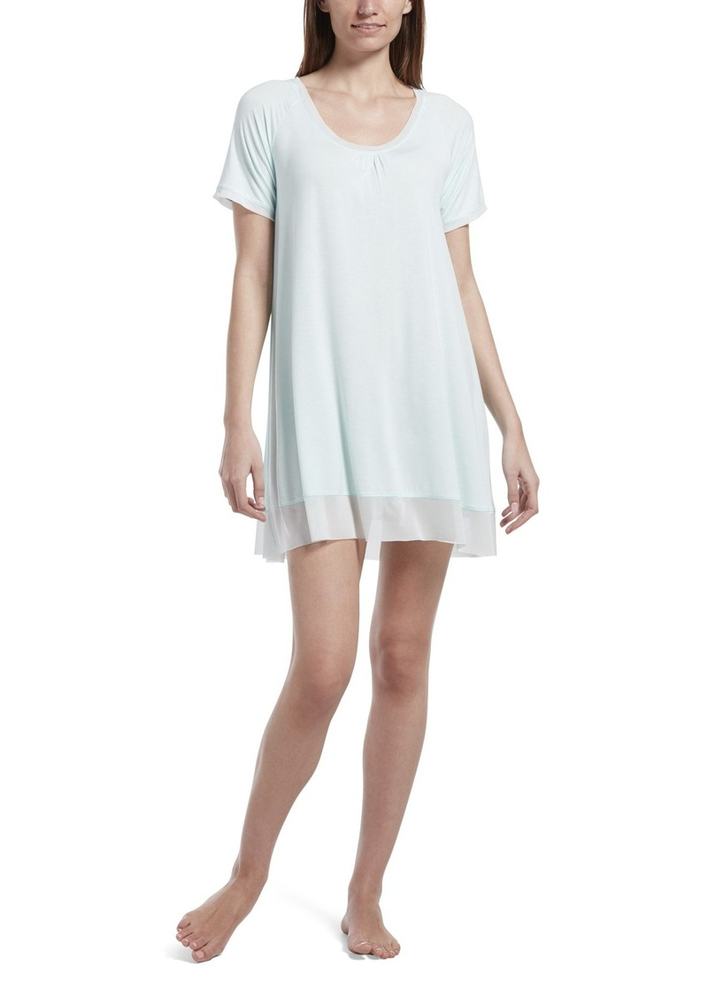 HUE Women's SleepWell with TempTech Short Sleeve Nightgown Sleepshirt Soothing sea