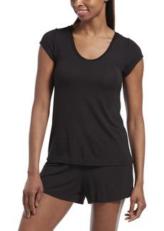 HUE Women's SleepWell with TempTech Short Sleeve Pajama Sleep Top  Extra Large