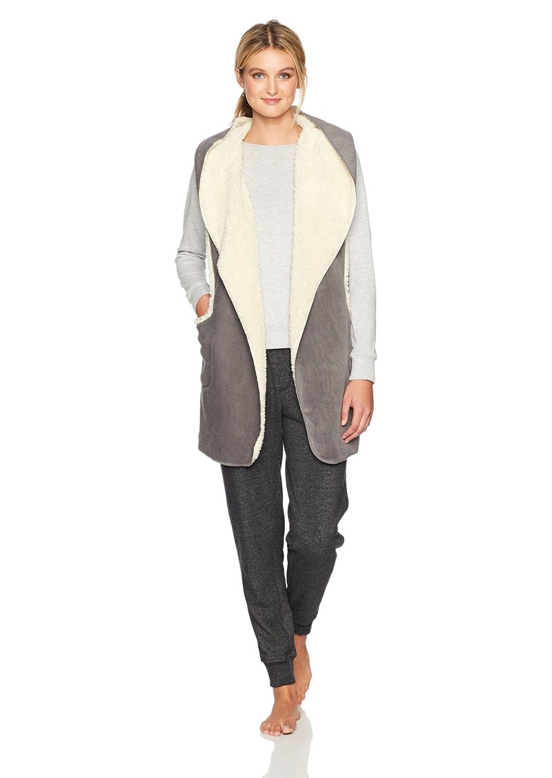 HUE Women's Sleeveless Sherpa Fleece Hooded Robe  Small/Medium