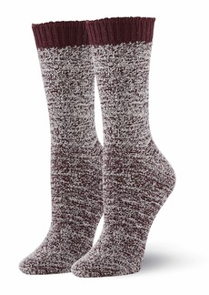 HUE Women's Soft Knit Crew Boot Socks 2 Pair Pack Assorted
