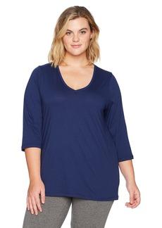 HUE Sleepwear Women's 3/4 Sleeve V-Neck Sleep Tee