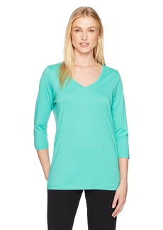 HUE Women's Solid 3/4 Sleeve V-Neck Tee