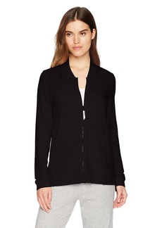 HUE Women's Solid French Terry Long Sleeve Zip Front Lounge Jacket