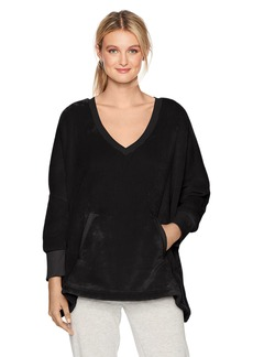 HUE Women's Solid Marshmallow V-Neck Poncho