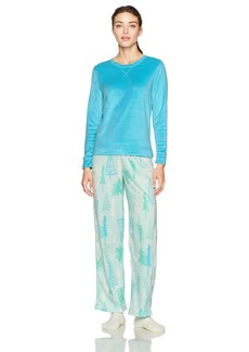 HUE Women's Sueded Fleece Long Sleeve Tee and Pant 3 Piece Pajama Set Scuba Blue-Nod to Nature Extra Large