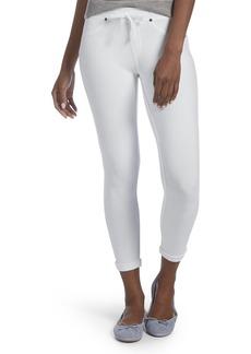 HUE Women's Sweatshirt Denim Cuffed Capri Leggings white M