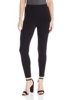 HUE Women's Temp Control Skimmer Leggings Wide Waistband Zippered Black