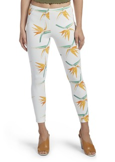 HUE Women's Tropical Floral Simply Stretch Twill Skimmer Leggings White M