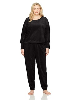 HUE Women's Velour Long Sleeve Tee and Cuffed Jogger 2 Piece Lounge Set  Extra Large