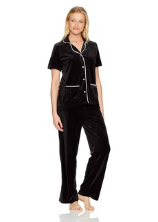HUE Women's Velour Notched Collar 2 Piece Pajama Set  Extra Large