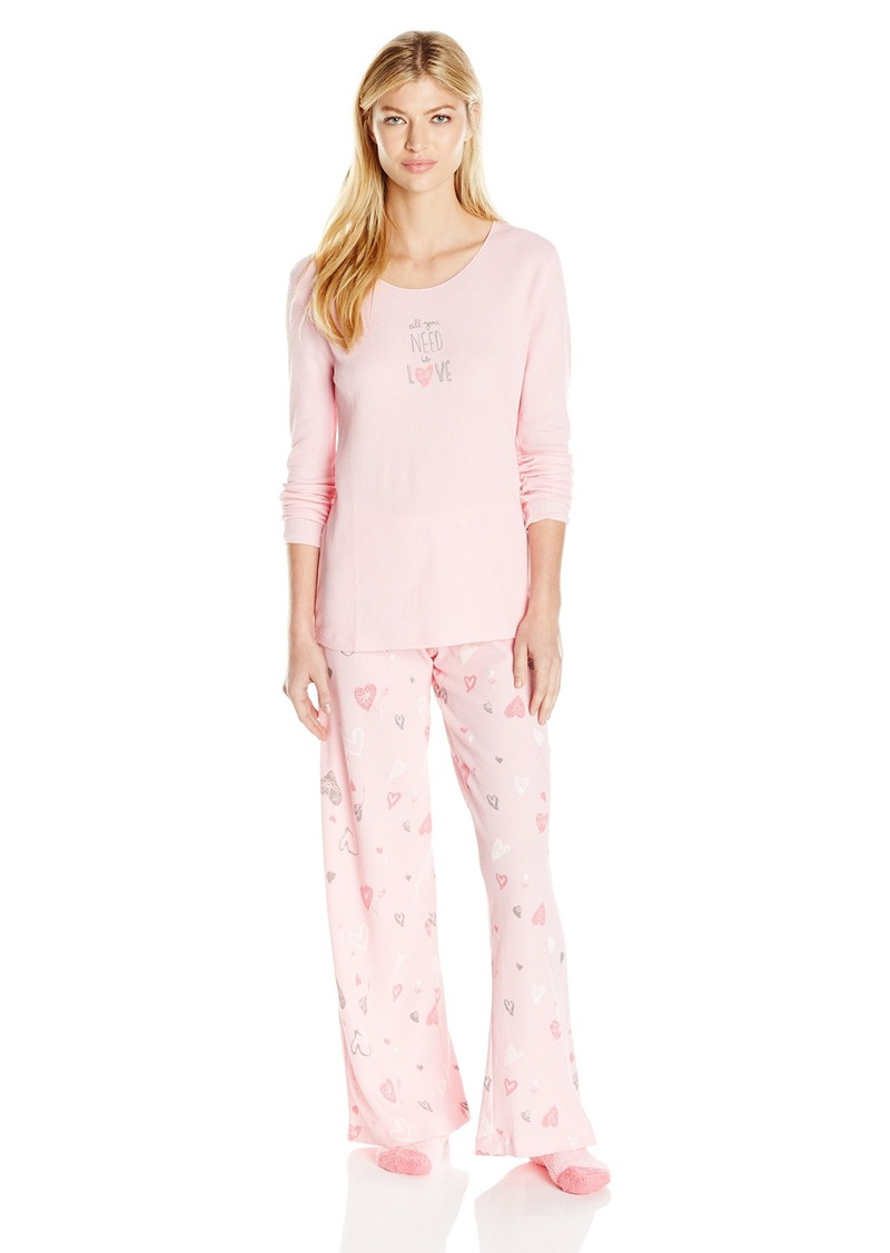 HUE Women's Winter Amour 3 Piece Thermal Pajama Set