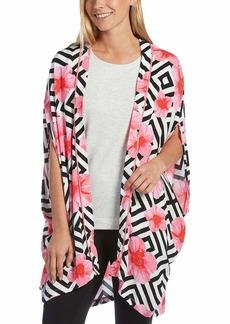 HUE Women's Woven Kimono Sleep Wrap Flower pop/White