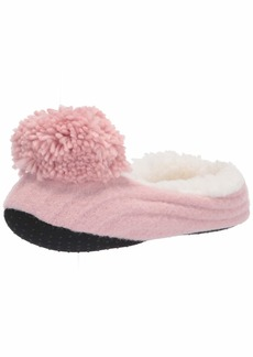 HUE womens Pom Pom Ribbed Shue Slipper Socks  5 6 US