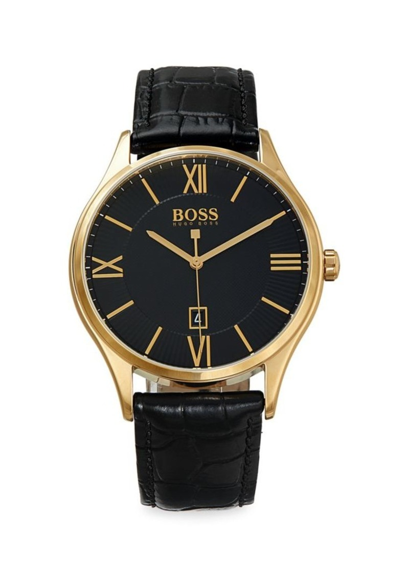 Hugo Boss 3-Hand Goldtone Stainless Steel & Leather-Strap Watch