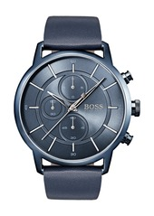 Hugo Boss Architectural Chronograph Leather Strap Watch, 44mm