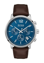 Hugo Boss Men's Attitude Leather Strap Watch, 42mm