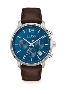 Hugo Boss Attitude Chronograph Leather-Strap Watch