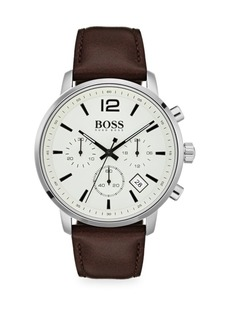 Hugo Boss Attitude Stainless Steel & Brown Leather Strap Chronograph Watch