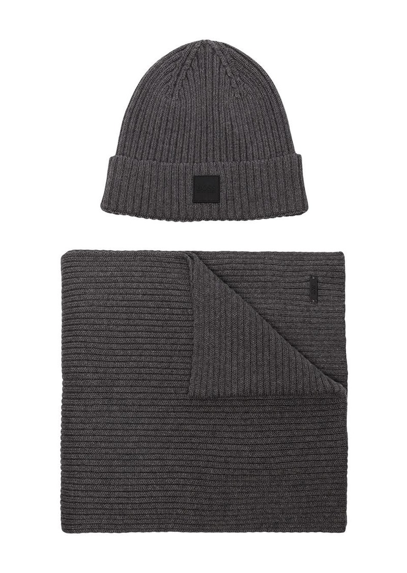 Hugo Boss beanie and scarf set