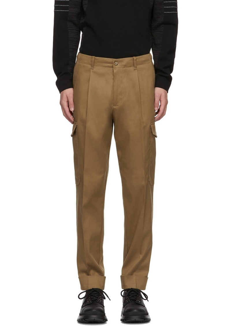 Hugo Boss Beige Kirio Pleats Cargo Pants