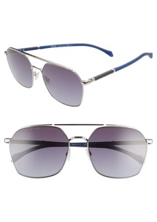 Hugo Boss BOSS 60mm Polarized Aviator Sunglasses