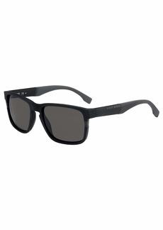 BOSS by Hugo Boss Men's 0916/S Rectangular Sunglasses MATT Black