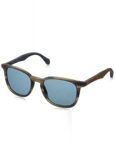 BOSS by Hugo Boss Men's B0843s Square Sunglasses Horn Brown Blue 52 mm