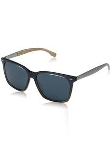 BOSS by Hugo Boss Men's B0883s Square Sunglasses Brown Horn Palladium/Blue