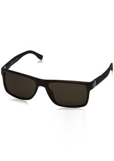 BOSS by Hugo Boss Men's B0919s Rectangular Sunglasses HAVANA BLACK 57 mm