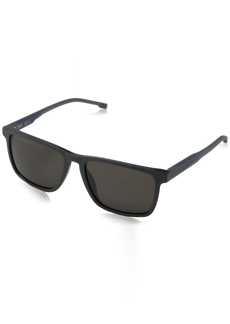 BOSS by Hugo Boss Men's Boss 0921/s Polarized Rectangular Sunglasses STRPD GRY 55 mm