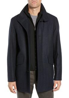 Hugo Boss BOSS Coxtan Regular Fit Herringbone Layer Look Wool Blend Coat